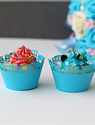 50pcs/lot Carriages Laser Cut Cupcake Wrappers Wedding Party Baby Shower Birthday For Guest Decoration Supplies