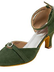 "cheap -Women's Modern Fleece Sandal Performance Crystals/Rhinestones Cuban Heel Army Green Pink 2"" - 2 3/4"" Customizable"