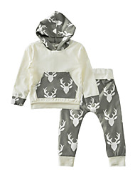 cheap -Baby Boys' Indoor Outdoor Casual/Daily Animal Print Fashion Clothing Set, Cotton Winter Spring/Fall Animal Print Long Sleeves White