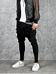 Недорогие -Муж. Активный / Уличный стиль Спорт выходные Свободный силуэт Гарем / Штаны Брюки - Однотонный Черный XL XXL XXXL