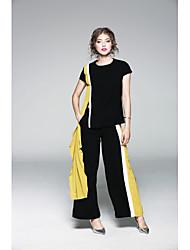 Dámské Jednobarevné Běžné/Denní Sofistikované Trička Kalhoty Obleky-Podzim Kulatý Krátký rukáv