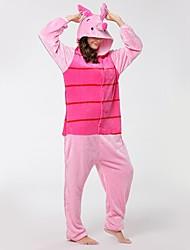 abordables -Pyjamas Kigurumi Porcelet / Cochon Combinaison de Pyjamas Costume Flanelle Cosplay Pour Adulte Pyjamas Animale Dessin animé Halloween