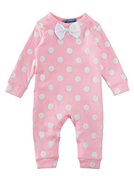 cheap -Baby Girls' Polka Dot One-Pieces, Cotton Winter Spring/Fall Dot Bow Long Sleeves Blushing Pink