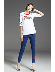 FRMZ Women's Going out Simple Summer T-shirtSolid Letter Round Neck Half Sleeves Cotton Spandex Medium