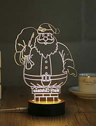 1 Set, Popular Home Acrylic 3D Night Light LED Table Lamp USB Mood Lamp Gifts, Santa Claus