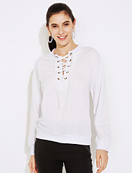 cheap -Women's Casual/Daily Sexy Solid Round Neck Sweatshirt Regular, Long Sleeves Winter Fall Cotton