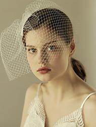 cheap -One-tier Cut Edge Wedding Veil Blusher Veils 53 Ruffles Tulle