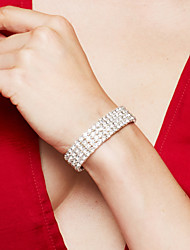 cheap -Women's Rhinestone Silver Plated Imitation Diamond Bracelet Tennis Bracelet - Luxury Bridal Elegant Square Silver Bracelet For Wedding
