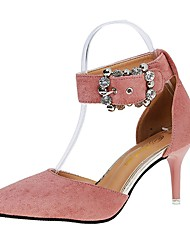 Women's Heels Comfort Summer PU Dress Rhinestone Buckle Kitten Heel Black Brown Blushing Pink 2in-2 3/4in