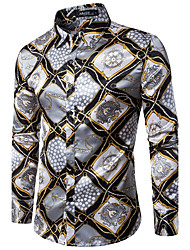 Men's Party Club Sexy Vintage Spring Fall Shirt,Print Shirt Collar Long Sleeves Cotton Medium