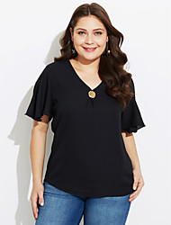 cheap -Women's Daily Casual T-shirt,Solid V Neck Short Sleeves Cotton Polyester