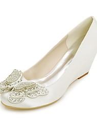 cheap -Women's Shoes Satin Spring / Summer Basic Pump Wedding Shoes Wedge Heel Round Toe Rhinestone Blue / Champagne / Ivory