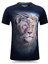 6 Colors You're Worth It S-6XL Men's Sports Plus Size Casual Simple Active T-shirt Round Neck Short Sleeves With Lions Print Tops