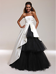 cheap -A-Line Ball Gown Princess Strapless Floor Length Satin Tulle Prom Formal Evening Quinceanera Sweet 16 Dress with Side Draping by TS