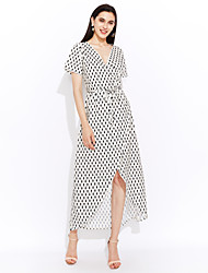 cheap -Women's Classic & Timeless A Line Dress - Dots, Artistic Style High Waist Maxi V Neck