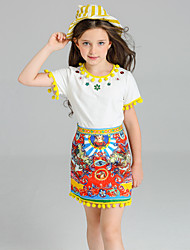 cheap -Girls' Jacquard Clothing Set, Cotton Spandex Summer Yellow