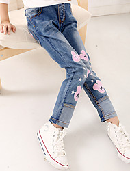 Girls' Stylish And Cool Comfortable Cotton Broken Hole Cartoon Flowers Water Soft Elastic Cowboy Body Elastic Leisure Pants Trousers