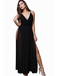 Women's V Neck Club Sexy Solid Patchwork Mesh Backless Strap Sheath Split Maxi Dress