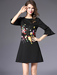 Women's Going out Work Street chic Sheath Dress,Embroidered Round Neck Above Knee 3/4 Length Sleeves Polyester Fall Mid Rise Inelastic