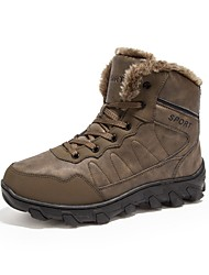 cheap -Men's Shoes Leatherette Winter Fall Fashion Boots Boots Booties/Ankle Boots Split Joint for Casual Black Brown