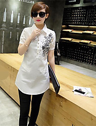 cheap -Women's Work Sophisticated Summer Shirt,Floral Shirt Collar Short Sleeves Cotton Thin