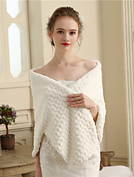 Faux Fur Wedding Party / Evening Women's Wrap With Wave-like Capes