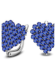 cheap -Women's Heart Crystal Sterling Silver / Crystal Stud Earrings - Fashion / Simple Style White / Blue Earrings For Casual / Office & Career