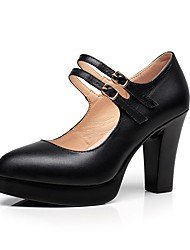 Women's Heels Basic Pump Spring Fall Real Leather Office & Career Party & Evening Buckle Chunky Heel Black 2in-2 3/4in