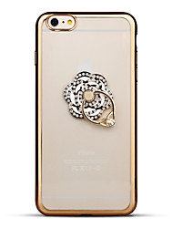 For iPhone 6 iPhone 6 Plus Case Cover Rhinestone Plating Ring Holder Transparent Back Cover Case Flower Soft TPU for Apple iPhone 6s Plus