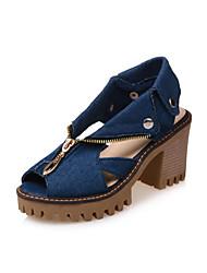 cheap -Women's Shoes Nubuck leather Denim Spring Fall Comfort Novelty Heels Chunky Heel Peep Toe Rivet Zipper for Dress Office & Career Dark