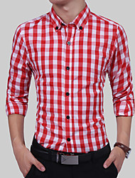 Men's Going out Casual/Daily Simple Summer Fall Shirt,Solid Color Block Classic Collar Long Sleeves Cotton Thin
