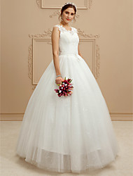 cheap -Ball Gown V Neck Floor Length Lace / Tulle Custom Wedding Dresses with Beading / Sequin / Appliques by LAN TING BRIDE®