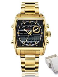 Недорогие -Жен. Спортивные часы Армейские часы электронные часы Японский Кварцевый Нержавеющая сталь Черный / Золотистый 30 m Защита от влаги Календарь Секундомер Аналого-цифровые / Светящийся / Хронометр