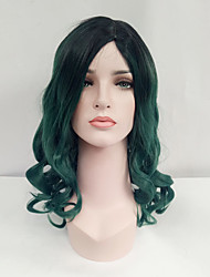 cheap -Women Synthetic Wig Capless Medium Length Wavy Black/Dark Green Ombre Hair Dark Roots Natural Wigs Costume Wig