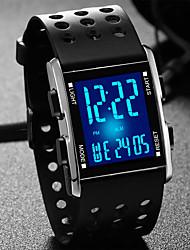 Недорогие -Муж. Модные часы Смарт Часы электронные часы Кварцевый силиконовый Pезина Черный Защита от влаги Календарь Секундомер Цифровой На каждый день - Черный Серебряный / Нержавеющая сталь / LED