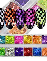 economico -Polvere di lucentezza lucida dei sequins diy del chiodo di arte 12color / box