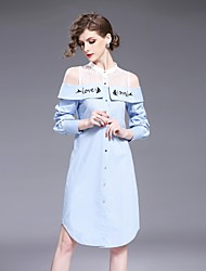 FRMZ Women's Going out Casual/Daily Simple Loose Sheath Dress,Solid Letter Off Shoulder Above Knee Long Sleeves Cotton Others Spring Fall Mid