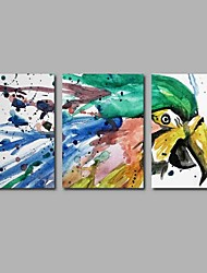 cheap -Oil Painting Hand Painted - Animals Modern / Contemporary Canvas Three Panels