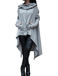 Недорогие -Для женщин На каждый день Осень Зима Плаща / накидки Капюшон,Простой Однотонный Обычная Длинный рукав,Полиэстер