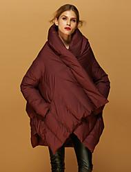 preiswerte -Damen Daunen Mantel,Standard Einfach Street Schick Ausgehen Lässig/Alltäglich Solide-Baumwolle Weiße Entendaunen Langarm