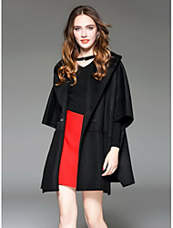Damen Solide Street Schick Ausgehen Trench Coat,Mit Kapuze Herbst Lange Ärmel Standard Wolle
