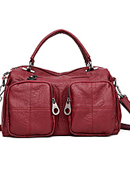 Women Bags All Seasons PU Tote Pockets for Casual Formal Black Purple Wine