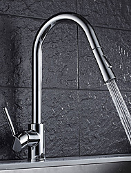 Contemporary Standard Spout Vessel Widespread Rotatable Pull out Ceramic Valve Chrome , Kitchen faucet