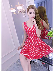cheap -Women's Club Sexy Skater Dress,Polka Dot Strap Mini Sleeveless Silk Summer Mid Rise Micro-elastic Thin
