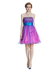 cheap -A-Line Strapless Knee Length Tulle Cocktail Party Prom Dress with Beading Draping by W.JOLI