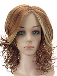 cheap -Women Synthetic Wig Capless Medium Curly Brown Highlighted/Balayage Hair Middle Part With Bangs Natural Wig Costume Wigs