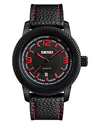 SKMEI Муж. Модные часы Наручные часы Кварцевый Натуральная кожа Группа Черный