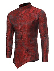 Men's Daily Casual All Seasons Shirt,Floral Standing Collar Long Sleeves Polyester Opaque