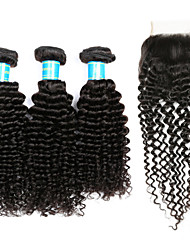 cheap -Peruvian Hair Kinky Curly Human Hair Weaves Four-piece Suit Hair Weft with Closure