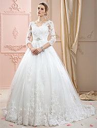 cheap -Ball Gown V-neck Court Train Lace Tulle Wedding Dress with Appliques Crystal Detailing by LAN TING BRIDE®